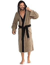 eda05fb334bc9f aqua-textil Bademantel Baumwolle für Damen Herren mit Kapuze, Frottee Sauna-Mantel,  Föhr Uni, Sylt Zwei-farbig Morgenmantel weich…