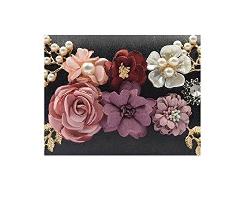 GSHGA Womens Taschen PU Leder Blumen Rechteck Tasche Schulter Messenger Handtaschen Dinner Bag,Black Black