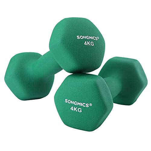 SONGMICS Women\'s SYL68GN 2er-Set Hanteln 0,5 kg, 1 kg, 1,5 kg, 2 kg, 3 kg, 4 kg & 5 kg Kurzhantel Gymnastikhantel Vinyl in Verschiedenen Gewichts-und Farbvarianten, Grün, 20.5 x 9 cm