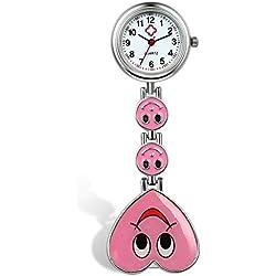 Lancardo Reloj de Bolsillo con Colgante de Corazón con Cara Sonriente Prendedor de Broche Uniforme con Risa Reloj Médico de Movimiento de Cuarzo para Doctor Enfermera Paramédico (Rosa)