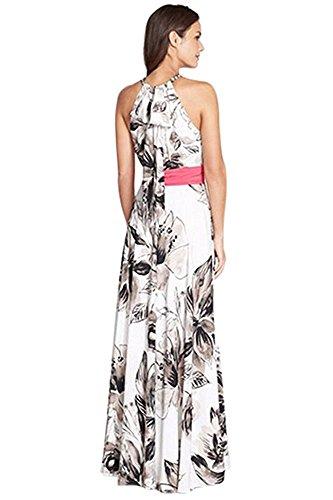 Aisuper Damen Neckholder Kleid, Geblümt Weiß