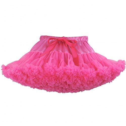 SCFL erwachsene luxuriöse weiche Chiffon Petticoat Tüll Tutu Rock Damen Tutu Kostüm Petticoat Ballett Tanz Multi-Layer Puffy (Organza Tutu Fuchsia Mädchen)