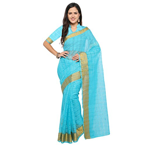 sarvagny clothing art silk light blue color daily wear party wear saree...