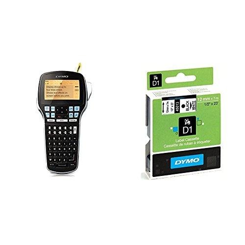 Dymo LabelManager 420P Etikettiergerät (ABC-Tastatur Bandsystem, D1-Bänder: 6, 9, 12, 19 mm) + D1-Etiketten (Selbstklebend, für den Drucker LabelManager, 12 mm x 7 m Rolle) schwarz auf weiß - 13x19 Drucker