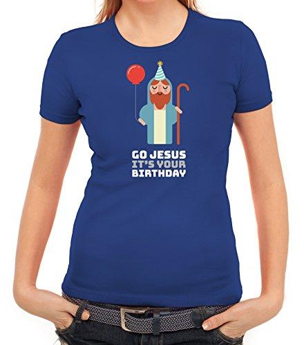 Weihnachten Damen T-Shirt mit Go Jesus It's Your Birthday Motiv von ShirtStreet Royal Blau