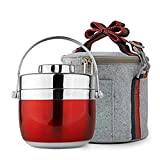 Homemper Lunchbox aus Edelstahl,Büro-Lebensmittel-Aufbewahrungsboxen,Lunch-Container für die Arbeit (2-Tier)(Lunchbox-Set) (Rose-Bengal)