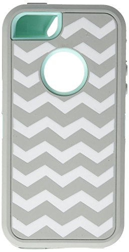 allmet Deluxe Cheron Wave Hybrid Impact Case Cover für iPhone 55S, Gery +Light Blue with White Wave