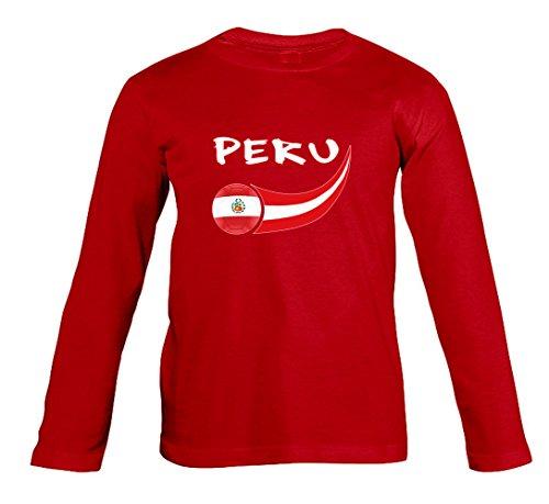 Supportershop-Perú-Camiseta de Manga Larga para niño, Niño, Pérou, Rojo, L