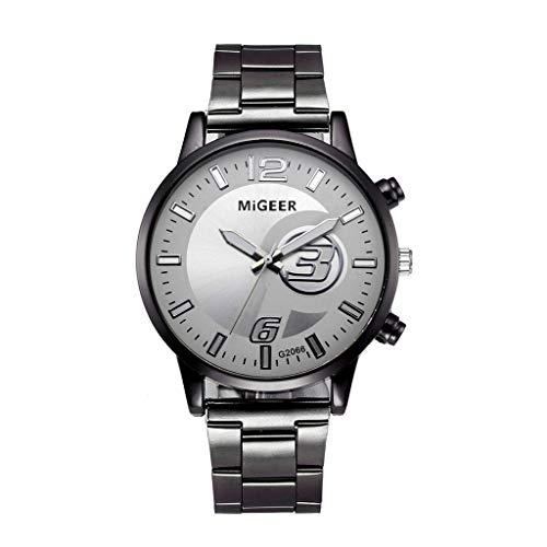 IG Invictus Analoge Quarz Armbanduhr der Art und Weisemann Kristalledelstahl MIGEER Steel Band Uhr Miguel G2066 Stahl Meter weißen Pavillon '