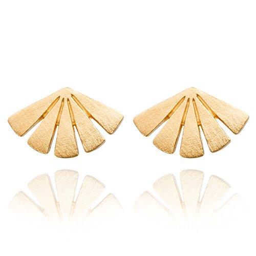 Pernille Corydon Ohrstecker Damen Gold Sonnenuntergang - Dawn Serie - Ohrringe in Toller Echtschmuck Qualität Silber 18 Karat Vergoldet - E590g