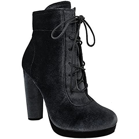 Womens Ladies Platforms Block High Heel Ankle Boots Lace Up Velvet Shoes Size