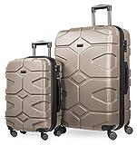 HAUPTSTADTKOFFER - X-Kölln - Juego de 2 Trolleys  55+76 cm, maletas expandibles, TSA , Dorado