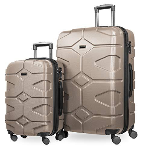 HAUPTSTADTKOFFER - X-Kölln - Set 2 Bagagli Rigidi espandibile, valigie cabina e grande (S & L), Oro