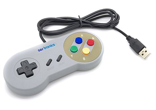 USB 2.0 Controller/Gamepad im SNES Design grau - passend für: Windows PC, Mac, Linux, Raspberry Pi/RetroPie (Snes Für Pc Controler)