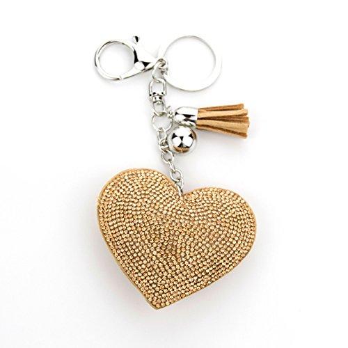 MANUMAR Schlüsselanhänger Handtaschen Dekoration in Herz Motiv aus glitzernden Strass Steinen mit Kordel und Fransen Geschenkidee - Fransen Herz