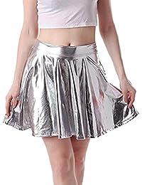 56700f3bb8ae Damen Metallischer Faltenrock Mini Skater Rock Frauen Röcke Shiny Metallic  Dancewear Hohe Taille Kurz Mini Hippie