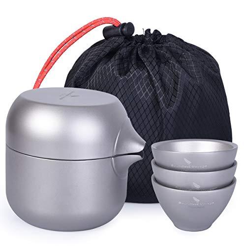 iBasingo Doppelschicht Titan Teekessel Topf mit 3 Titan Tassen Teesieb Teekanne Tee-Set für Outdoor Indoor Camping Ti15140I Mini-china-tee-set