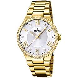 University Sports Press F16720/1 - Reloj de cuarzo para mujer, con correa de acero inoxidable chapado, color dorado