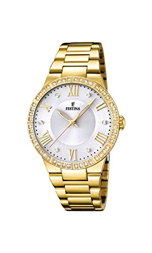 Festina Women's Quartz Watch with White Dial Analogue Display and Gold Stainless Steel Plated Bracelet F16720/1