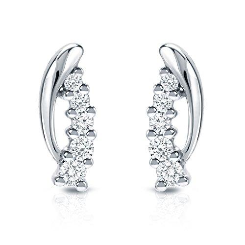 Damen-Ohrringe 14 Karat (585) Weißgold Diamant Rundschliff 5 Steine (1/4 Karat) Weiß SI2-I1