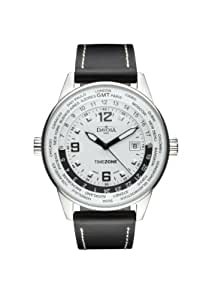 Davosa Men's Vireo Dual Time Analogue Watch 16246314 with White Dial and  41 mm Stainless Steel Case