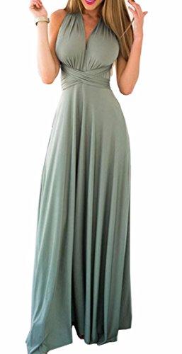 EMMA Damen Sexy Elgant V-Ausschnitt Rückenfrei Gefaltet Plisse Abendkleider Ärmellos Schulterfrei Cocktailkleid Abschluss Bandage Rücken Kreuz Brautjunfer Langes Sommer Party Kleid(LG,XL) (Kleid V-ausschnitt)