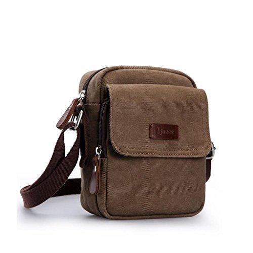 DELLT-Schulterbeutel der Männer Segeltuchtasche kleinen Rucksack Outdoor-Sport und Freizeit Retro Messenger Tasche Mann Tasche Brown (Kleinseite )