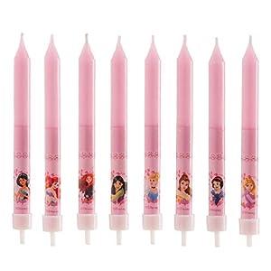 dekora Velas de Cumpleaños Infantiles de Princesas Disney de 9 cm-8 Unidades, Cera, Rosa, 8 x 8 x 12 cm