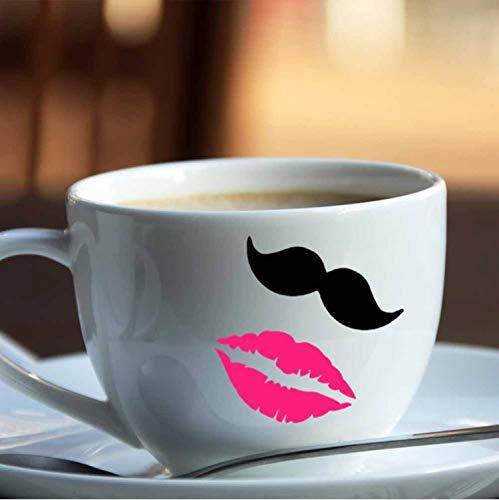 Diy 10 Schnurrbärte & 10 Lippen Vinyl Aufkleber Aufkleber Für Hochzeitsdekoration Tassen Tassen Weinglas Aufkleber (Schnurrbart-aufkleber Tassen Für)