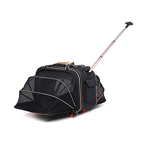 Trolley Für Haustiere, Haustier Kinderwagen Handtasche Träger Hund Koffer Katze Käfig Tasche Für Kleine Teddy Tasche Behinderte Tragbare Outdoor Reise Haustier Gepäck (Farbe : SCHWARZ) -