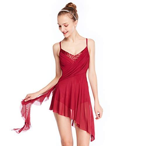 (MiDee Hemdchen, Oder So Was V-Ausschnitt Hoch-Low Lyrischen Kleid Latin Dance Kostüm (Wein, XLA))