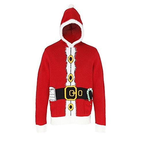 Christmas Shop Unisex Kapuzenpullover im Weihnachtsmann-Design Rot
