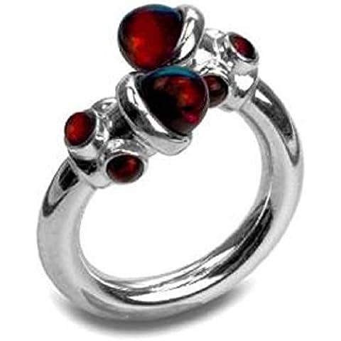 Black Cherry-Anello di design in ambra e argento Sterling