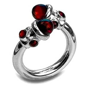 Noda Black Cherry Amber Sterling Silver Designer Ring Size J 1/2