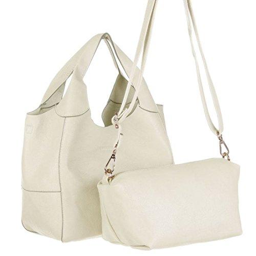 Blanco Store - Borsa Donna 2 in 1 Borsetta manici corti e pochette con tracolla staccabile Panna