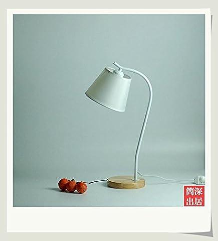 PinWei@ Geführt von Auge Schutz Schreibtischlampe, Stoff Schatten Tischleuchte,Weiß