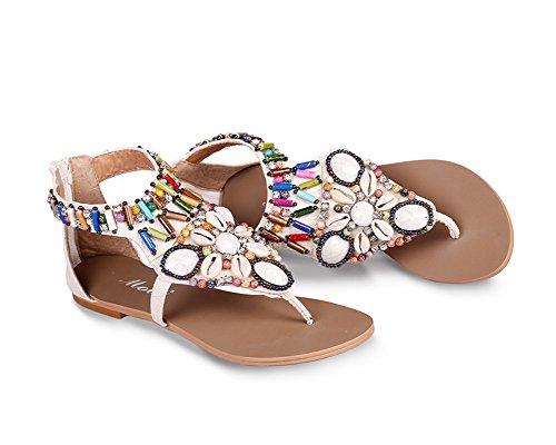 Donne Moda Estate Sandali Boemo Stile Scarpe Piatto Tacco Pantofole Clip Toe Sandali Scarpe Con Colorato Perline Beige