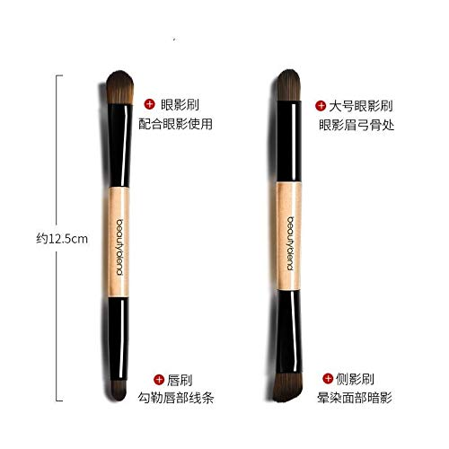 DAMENGXIANG Mini Oblique Head Eyebrow Brush Concealer Brush Lip Brush Eye Shadow Liner Makeup Brush Set Combination Double Head Portable Cosmetic Brush Professional Makeup Brush.