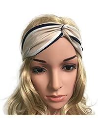 Demarkt 1 Pcs Femme Bande de Cheveux Belles Rayures Headband Rayure Elastique Extensible Hairband Twisted Pour fille Sport Jogging Yoga Maquillage Accessoire Rayures Beiges