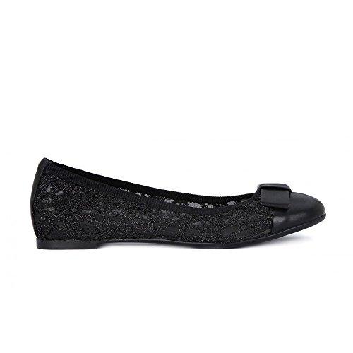 FRAU 70J1 nero scarpe donna ballerine elasticizzata ricamo fiocco punta pelle Nero