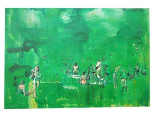 Impressionniste badeszene même taille que original cartouche kuenstler connu sur toile