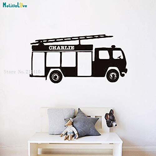 zhuziji Personalizzato Nome Adesivo Fire Station Decal Station Personalizzato Sticker Regalo per Ragazzi Kids Room Decoration Rimovibile Bianco 84x42cm