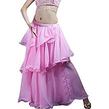 YiJee Danza del Vientre de 3 Capas Falda Larga Traje de la Danza