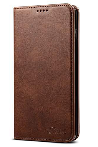 Leder Case Handyhülle Compatible with Samsung Galaxy 10+ Flip Case Handytasche mit Kredit Karten Hülle Geldklammer Unsichtbar Magnet und Stand Funktion Schutzhülle,Braun