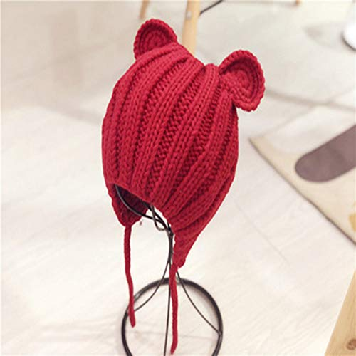 ZRK Baby Herbst und Winter Pullover Cap Cute Ear Knit Hat Baby Warm Earmuffs Hut Boys and Girls with Wool Hat Soft Texture, Red Boys Knit Winter Hut