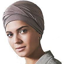 Bonnet chimio en coton Edith avec noeud pour effet volume - beige 727b2855f32