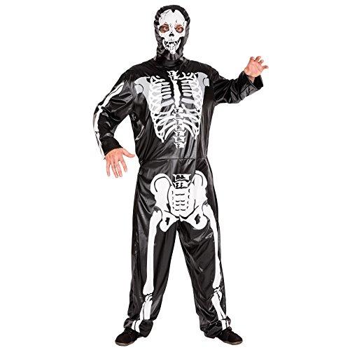 Skelett Kostüm Jumpsuit mit All-Over-Druck inkl. Maske (L | Nr. 300095) (Tag Der Toten Tracht)