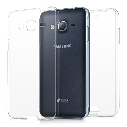 kwmobile Hülle für Samsung Galaxy J3 (2016) DUOS - Full Body TPU Silikon Crystal Case Transparent - Komplett Schutzhülle Cover