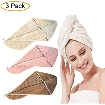 64 x 23cm Hair Drying Towel with Loop and Button Fastener Head Wrap Towel aztex Hair Turban Towel Multiple Colours Absorbent and Lightweight Cotton Aubergine