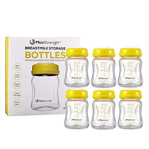 Juego de 6 botellas de leche materna con tapas a prueba de fugas por Max Strength Pro, 180 ml, botellas...